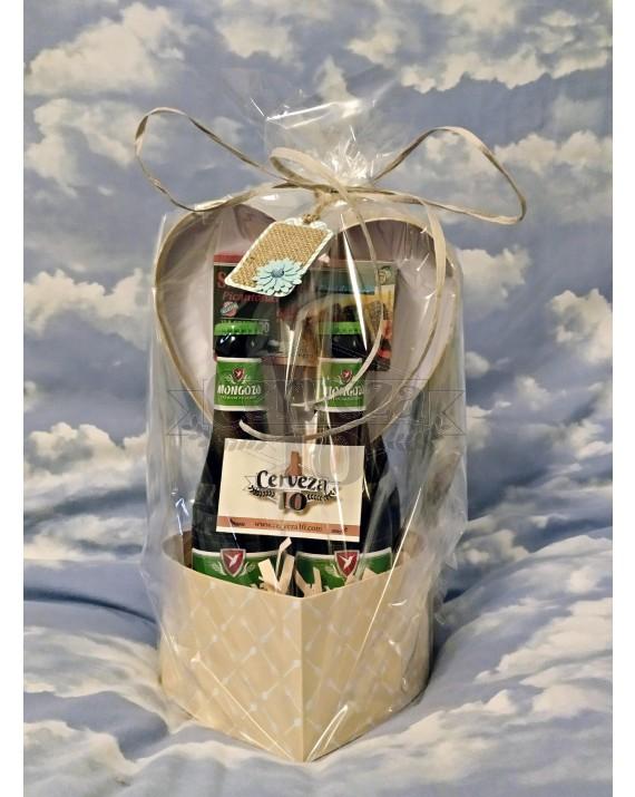 """Caja corazón regalo de cervezas """"sin gluten"""""""