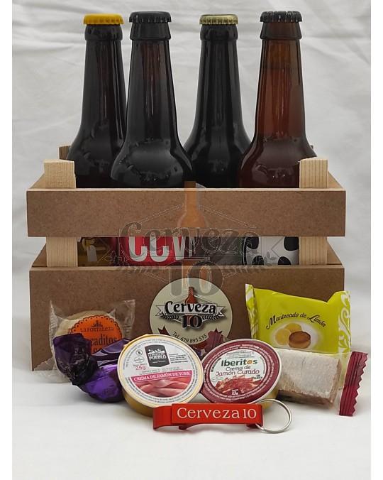 Cervezas artesanas en cesta