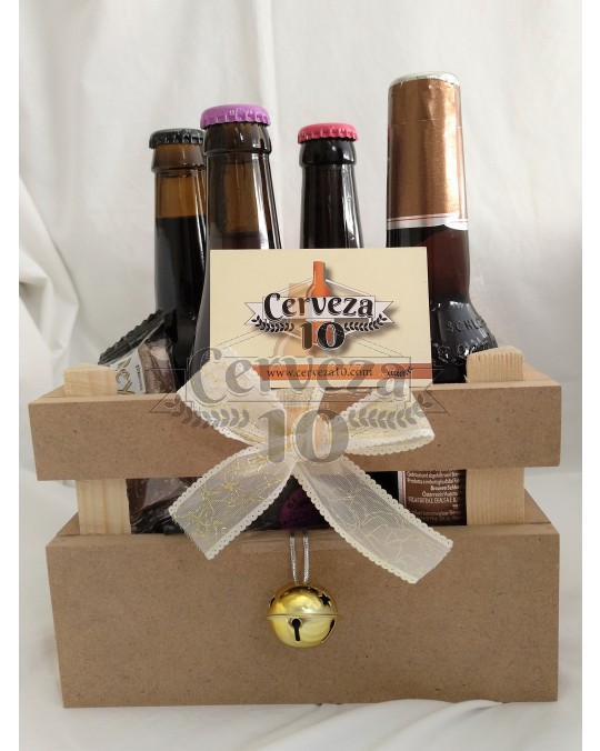 Cesta de Cervezas importación y artesanas Navidad.
